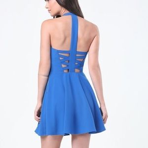 Bebe x Naven Blue Strappy Cocktail Dress